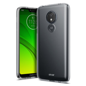 Custom moulded for the Motorola Moto G7 Power this clear FlexiShield case by Olixar provides slim fitting and durable protection against damage.