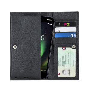 Fabricada con piel auténtica de alta calidad, con un acabado perfecto, esta funda-cartera de Olixar le dará un toque elegante a su Nokia 2 V y le permitirá llevar documentos, dinero en efectivo, y más.