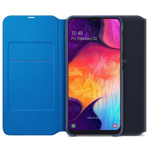 Protect your Samsung Galaxy A50's back, sides and screen from harm while keeping your most vital cards close to hand with the official flip wallet cover in Black from Samsung.