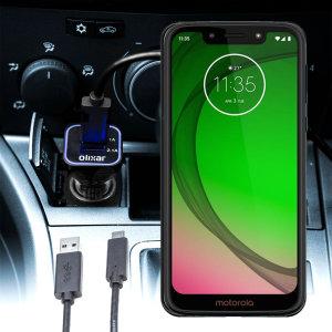 Houd je Motorola Moto G7 Play volledig opgeladen op de weg met deze compatibele Olixar-oplader voor high power-auto's.