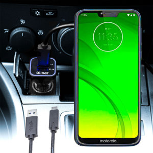 Keep your Motorola Moto G7 Power fully charged on the road with this compatible Olixar high power dual USB 3.1A Car Charger with an included high quality  1m USB to USB-C charging cable.