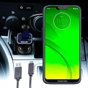 Maintenez votre Motorola Moto G7 Power pleinement chargé lors de vos trajets à l'aide de ce chargeur voiture Olixar High Power 3.1A double USB. Ce chargeur voiture est livré avec un câble USB-C d'excellente qualité.
