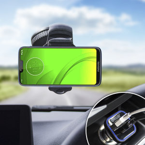 Essential items you need for your smartphone during a car journey all within the Olixar DriveTime In-Car Pack. Featuring a robust one-handed phone car mount and car charger with an additional USB port for your Motorola Moto G7 Power.