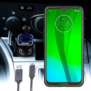 Keep your Motorola Moto G7 Plus fully charged on the road with this compatible Olixar high power dual USB 3.1A Car Charger with an included high quality  1m USB to USB-C charging cable.