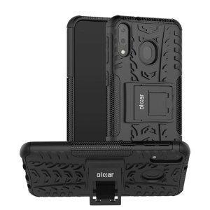 Beskyt din Samsung Galaxy M20 mod stød og ridser med dette sorte ArmourDillo-etui fra Olixar. Bestående af et indvendig TPU-etui og et ydre slagfast cover med indbygget display.