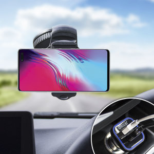 Essential items you need for your smartphone during a car journey all within the Olixar DriveTime In-Car Pack. Featuring a robust one-handed phone car mount and car charger with an additional USB port for your Samsung Galaxy S10 5G.