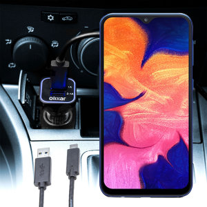 Keep your Samsung Galaxy A10 fully charged on the road with this compatible Olixar high power dual USB 3.1A Car Charger with an included high quality USB to Micro-USB charging cable.