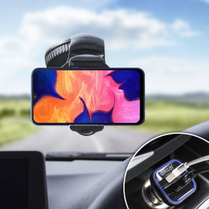 Essential items you need for your smartphone during a car journey all within the Olixar DriveTime In-Car Pack. Featuring a robust one-handed phone car mount and car charger with an additional USB port for your Samsung Galaxy A10.