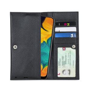 Olixar Primo Genuine Leather Samsung Galaxy A30 Wallet Case - Black