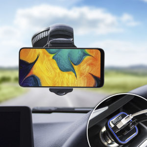 Essential items you need for your smartphone during a car journey all within the Olixar DriveTime In-Car Pack. Featuring a robust one-handed phone car mount and car charger with an additional USB port for your Samsung Galaxy A30.