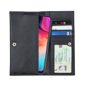 Crafted from premium quality genuine leather, with precision stitching and stud closure, and featuring a luxurious soft lining, document pockets and card slots, the Primo Wallet for the Samsung Galaxy A50 will protect your phone in style.