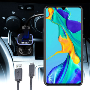 Keep your Huawei P30 fully charged on the road with this compatible Olixar high power dual USB 3.1A Car Charger with an included high quality  1m USB to USB-C charging cable.