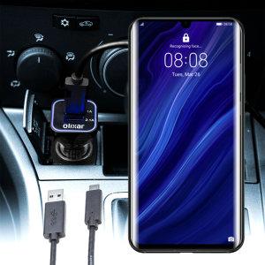 Houd je Huawei P30 Pro volledig opgeladen op de weg met deze compatibele Olixar-oplader voor high power-auto's.