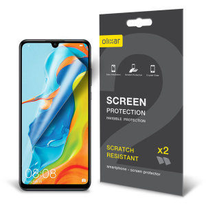 Keep your Huawei P30 Lite's screen in pristine condition with this Olixar scratch-resistant screen protector 2-in-1 pack.