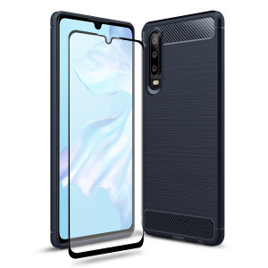 Flexible rugged casing with a premium matte finish non-slip carbon fibre and brushed metal design, the Olixar Sentinel case in blue keeps your Huawei P30 protected from 360 degrees with the added bonus of a tempered glass screen protector.