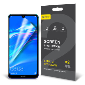 Keep your Huawei Y7 Prime screen in pristine condition with this Olixar scratch-resistant screen protector 2-in-1 pack.
