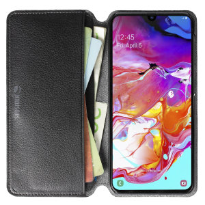 Krusell's Pixbo 4 Card Slim Wallet vegan leather case in Black combines Nordic chic with Krusell's values of sustainable manufacturing for the socially-aware Samsung Galaxy A50 owner who seeks 360° protection with extra storage for cash and cards.