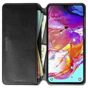 Krusell's Pixbo 4 Card Slim Wallet vegan leather case in Black combines Nordic chic with Krusell's values of sustainable manufacturing for the socially-aware Samsung Galaxy A70 owner who seeks 360° protection with extra storage for cash and cards.