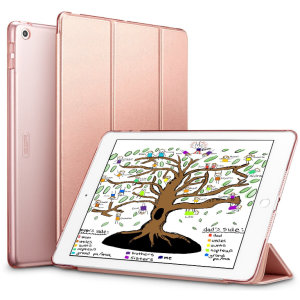 Protect your iPad Mini 2019 with this supremely functional rose gold case with viewing stand feature. Also features smart sleep / wake functionality.