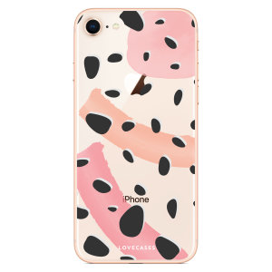 LoveCases iPhone 8 Plus Abstract Polka Case - Clear Multi