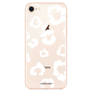 LoveCases iPhone 8 Plus Leopard Print Case - Clear White