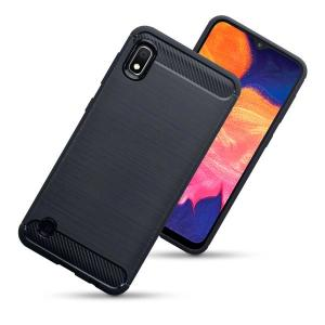Flexible rugged casing with a premium matte finish non-slip carbon fibre and brushed metal design, the Olixar case in black keeps your Samsung Galaxy A10 protected.