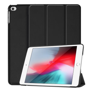 Protect your iPad Mini 2019 with this fantastic black leather-style stand case. The frame folds out to become a media viewing stand, perfect for streaming videos or gaming.