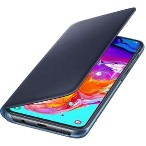 Protect your Samsung Galaxy A70's back, sides and screen from harm while keeping your most vital cards close to hand with the official flip wallet cover in Black from Samsung.