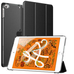 Protect your iPad Mini 2019 with this supremely functional transparent and black case with viewing stand feature. Also features smart sleep / wake functionality.