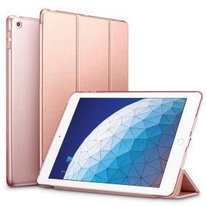 Proteggi il tuo iPad Air 2019 con questa custodia in oro rosa e trasparente estremamente funzionale con supporto di visualizzazione. Dispone anche di funzionalità smart sonno/sveglia