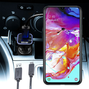 Keep your Samsung Galaxy A70 fully charged on the road with this compatible Olixar high power dual USB 3.1A Car Charger with an included high quality  1m USB to USB-C charging cable.