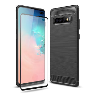 Flexible rugged casing with a premium matte finish non-slip carbon fibre and brushed metal design, the Olixar Sentinel case in black keeps your Samsung S10 Plus protected from 360 degrees with the added bonus of a tempered glass screen protector.
