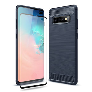Flexible rugged casing with a premium matte finish non-slip carbon fibre and brushed metal design, the Olixar Sentinel case in blue keeps your Samsung Galaxy S10 Plus protected from 360 degrees with the added bonus of a tempered glass screen protector.
