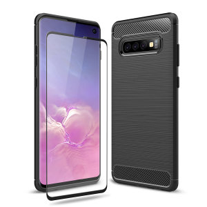 Premium Matte Finish Anti-slip Kulfiber og børstet metal design med fleksibel robust taske, sort Olixar Sentinel taske med forbedret beskyttelsesfolie beskytter Samsung Galaxy S10  fra 360 grader