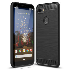 Flexible rugged casing with a premium matte finish non-slip carbon fibre and brushed metal design, the Olixar Sentinel case in black keeps your Google Pixel 3a XL protected from 360 degrees with the added bonus of a tempered glass screen protector.