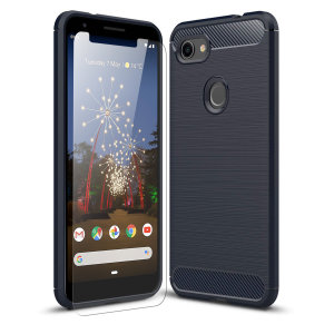 Olixar Sentinel Pixel 3a XL Case And Glass Screen Protector - Blue