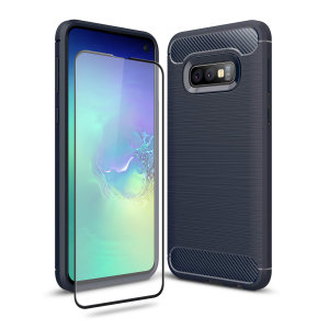 Flexible rugged casing with a premium matte finish non-slip carbon fibre and brushed metal design, the Olixar Sentinel case in blue keeps your Samsung Galaxy S10 E protected from 360 degrees with the added bonus of a tempered glass screen protector.