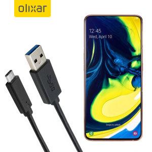 Assurez-vous de maintenir pleinement chargé votre Samsung Galaxy A90 à l'aide du câble de chargement Olixar USB 3.0 mâle vers USB-C 3.1 mâle. Vous pouvez utiliser ce câble de chargement sur un adaptateur secteur USB, un chargeur voiture USB ou sur le port USB de votre ordinateur.