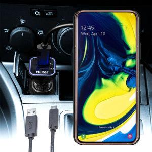 Maintenez votre Samsung Galaxy A90 pleinement chargé lors de vos trajets à l'aide de ce chargeur voiture Olixar High Power 3.1A double USB. Ce chargeur voiture est livré avec un câble USB-C d'excellente qualité.