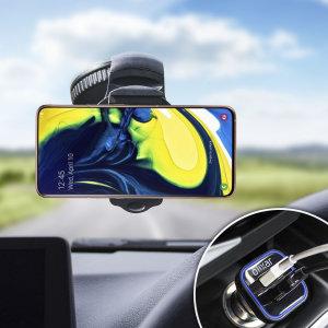Profitez d'accessoires essentiels pour maintenir votre Samsung Galaxy A90 en toute sécurité dans votre véhicule avec le pack Olixar DriveTime. Composé d'un support voiture robuste et d'un chargeur allume-cigare équipé d'un port USB supplémentaire, ce pack est tout simplement parfait pour positionner et recharger votre Samsung Galaxy A90 à bord de votre véhicule.