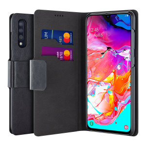 The Olixar leather-style Samsung Galaxy A70  Wallet Case in black attaches to the back of your phone to provide enclosed protection and can also be used to hold your credit cards. So leave your regular wallet at home when you need to travel light.