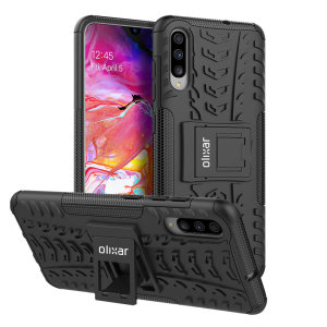 Protect your Samsung Galaxy A70 from bumps and scrapes with this black ArmourDillo case from Olixar. Comprised of an inner TPU case and an outer impact-resistant exoskeleton, with a built-in viewing stand.