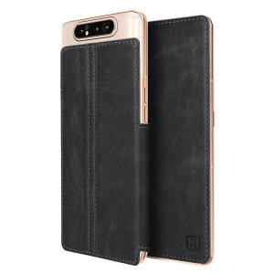 Lavish your Samsung Galaxy A80 with a luxurious flip wallet case. Featuring a black genuine leather exterior with beautiful stitching details, this Olixar wallet case will also store your credit and debit cards.