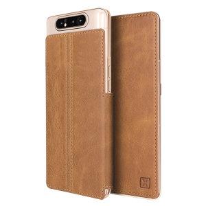 Arricchisci il tuo Samsung Galaxy A80 con una lussuosa custodia con portafoglio a fogli mobili. Caratterizzato da un esterno in vera pelle Tan con bellissimi dettagli di cuciture, questa custodia Olixar portafoglio memorizzerà anche le carte di credito e di debito.