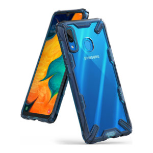 Keep your Samsung Galaxy A30 protected from bumps and drops with the Rearth Ringke Fusion X tough case in Blue. Featuring a 2-part, Polycarbonate design, this case lives up to military drop-test standards so you can rest assured that your device is safe