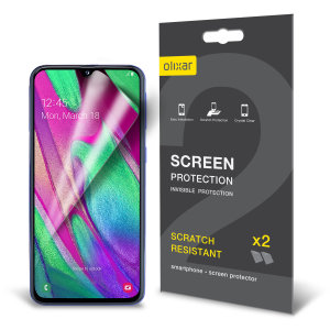 Keep your Samsung Galaxy A40 screen in pristine condition with this Olixar scratch-resistant screen protector 2-in-1 pack.