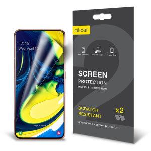 Mantieni lo schermo del tuo Samsung Galaxy A80 in condizioni perfette con questa pellicola protettiva Olixar antigraffio 2-in-1