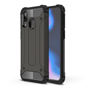 Protect your Samsung Galaxy A40 from bumps and scrapes with this gunmetal Delta Armour case from Olixar. Comprised of an inner TPU section and an outer impact-resistant exoskeleton.