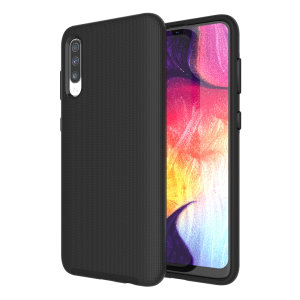 The Eiger North Dual Layer Protective Case in black is a hybrid ergonomic protective case for the Samsung Galaxy A50 providing fantastic protection without adding excessive bulk.