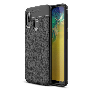 Flexible, rugged casing with a premium textured non-slip leather-effect and smooth matte finish, allied to beautiful engineered lines and executive looks, make the Olixar Attache a case for the discerning Samsung A20e user. Sleek, light and very robust